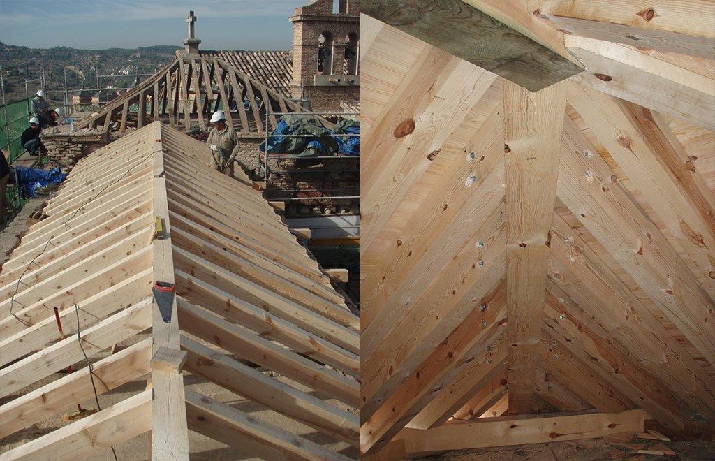 Imágen del Convento de las Carmelitas. Proceso de restauración de cubiertas y artesonado vistas interiro y exterior de la cubiertapor Sustratal